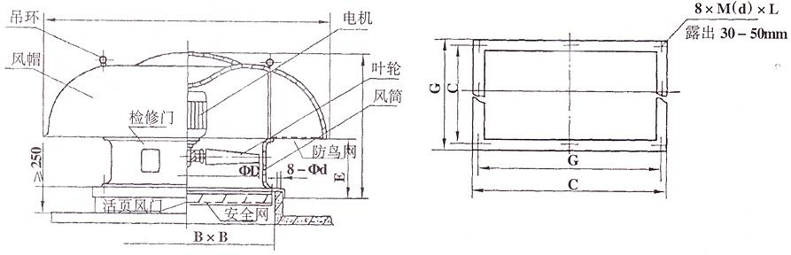 六no12-20轴流式屋顶通风机外形结构图安装尺寸(可变角度)